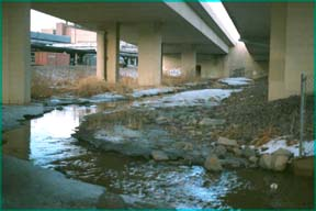 Stormwater runs under I-35 before entering the site